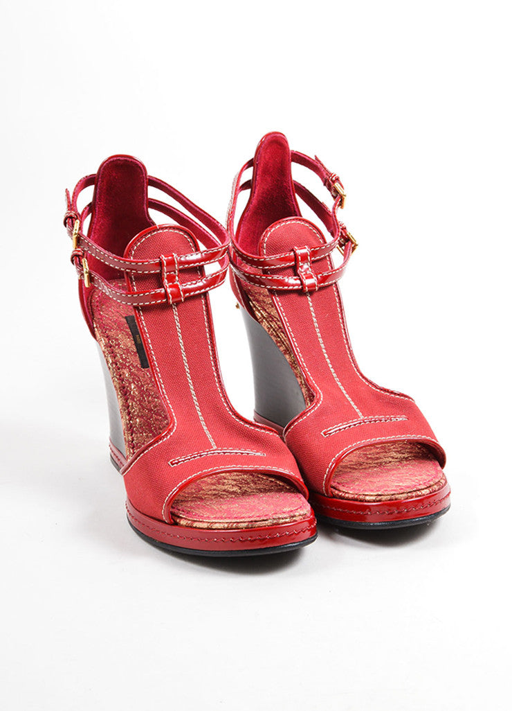 Louis Vuitton Red Canvas and Patent Leather Trim Ankle Strap Wedge Sandals Frontview