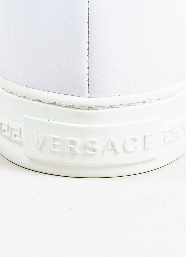 "MEN'S Versace White Leather Gold Tone Medusa ""Palazzo Idol"" Sneakers Brand"
