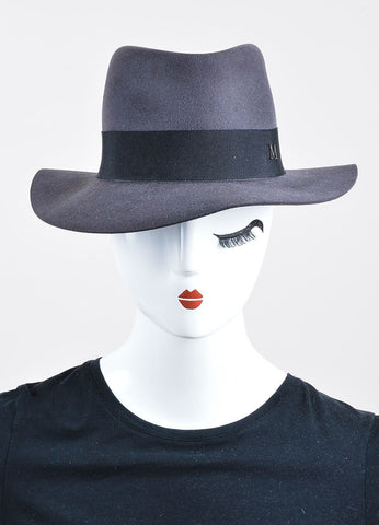 "Maison Michel Grey Felt Black Band ""Andre"" Wide Brim Hat Frontview"