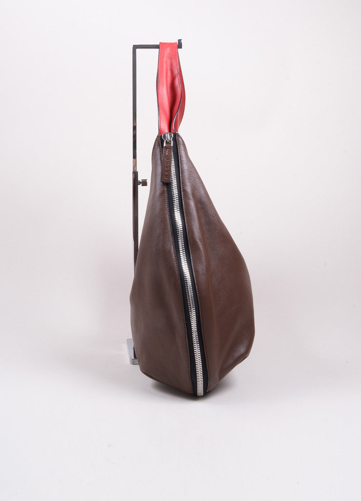 Marni Brown and Red Leather Expandable Zipper Hobo Shoulder Bag Sideview