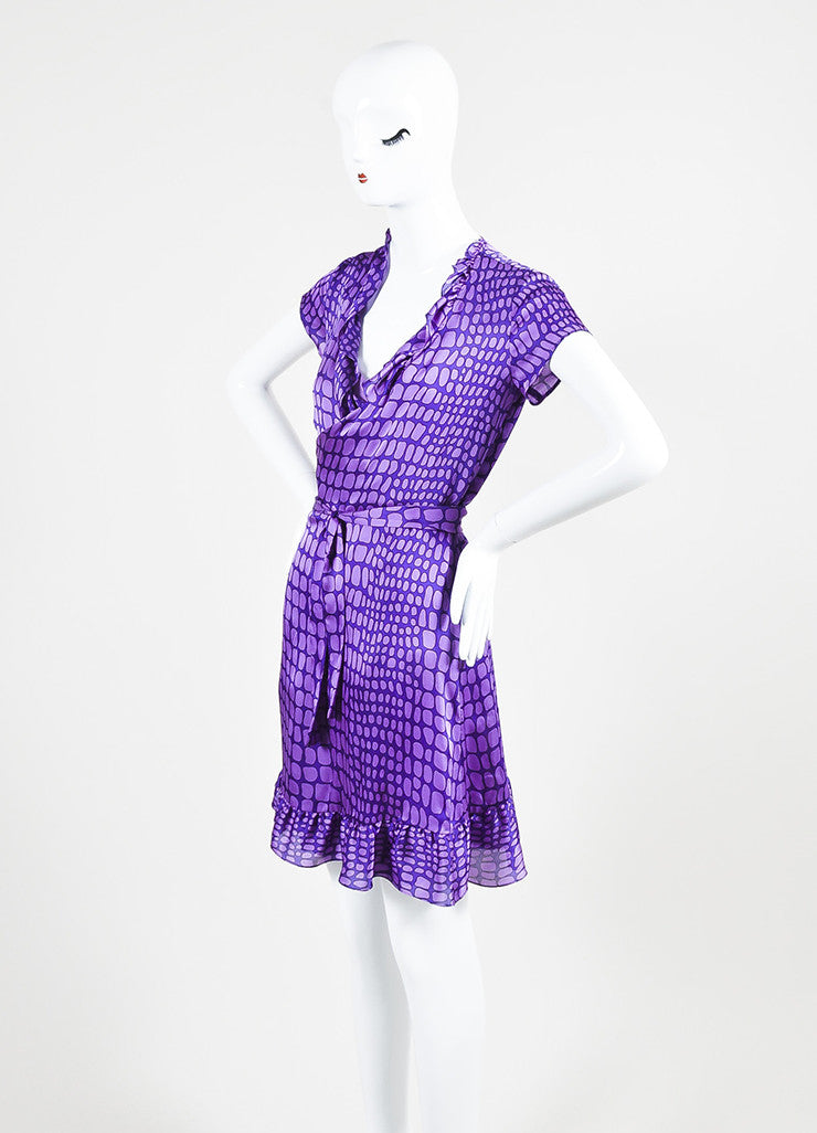Moschino Cheap and Chic Purple Silk Reptile Print Ruffle Dress Sideview