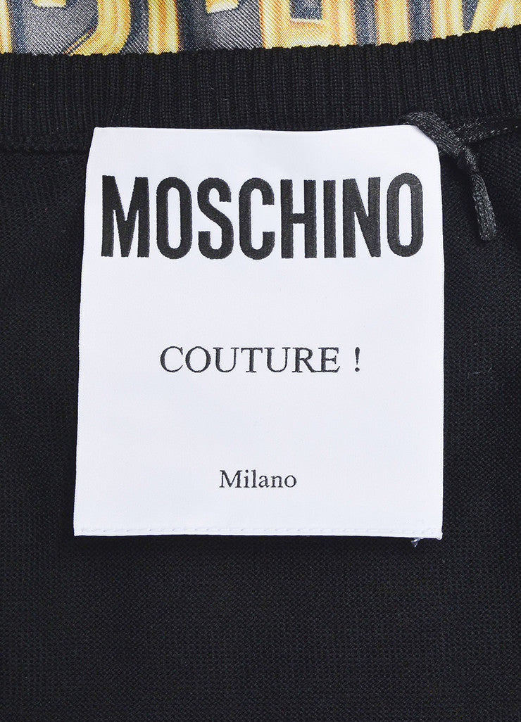 Black and Yellow Moschino Couture Wool and Silk Logo Belt Sweater Vest Brand