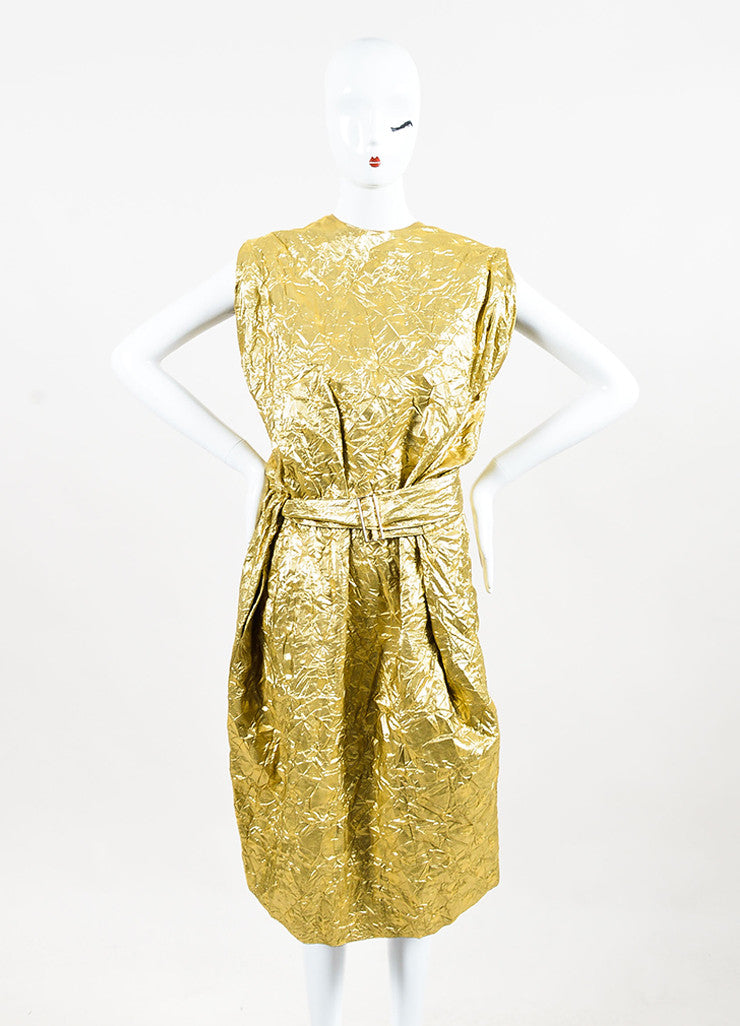 Ms Min Metallic Gold Silk Blend Polka Dot Crinkled Sleeveless Belted Dress Frontview
