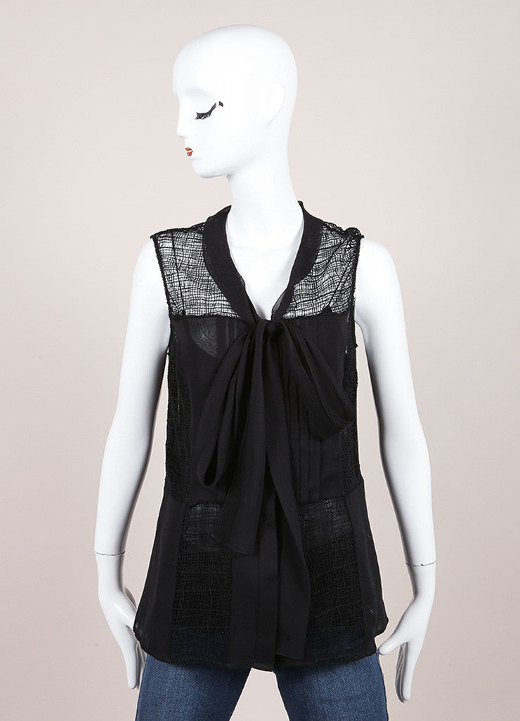 Oscar de la Renta Black Silk Sheer Woven Lace Sleeveless Blouse Frontview