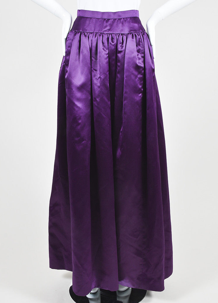 Purple and Black Oscar de la Renta Silk Satin Striped Ball Gown Skirt Frontview
