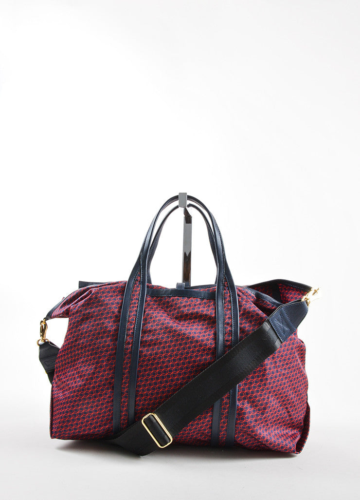 Pierre Hardy Red and Navy Nylon and Leather Cube Print Weekended Tote Bag Frontview 2
