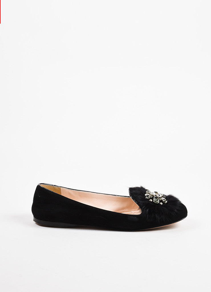 Prada Black Suede Leather Fur Crystal Embellished Loafer Flats Sideview