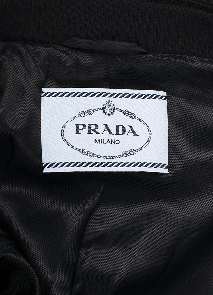 Prada Black, Cream, and Green Wool Oversized Check Belted Wrap Coat Brand