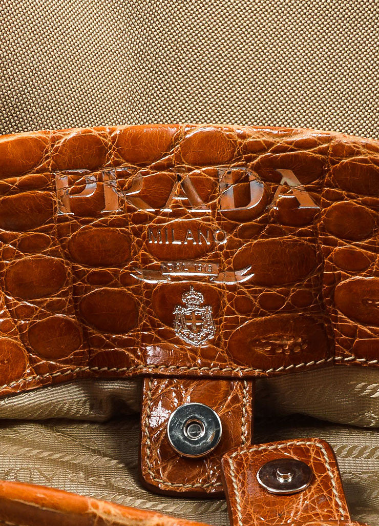 Prada Tan and Brown Canvas Crocodile Trim Logo Hobo Shoulder Bag Brand