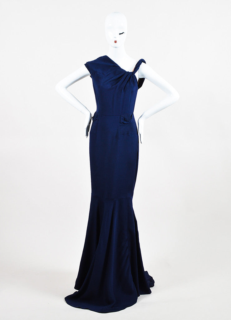 RM By Roland Mouret Navy Asymmetrical Knot Sleeveless Trumpet Dress Gown Frontview