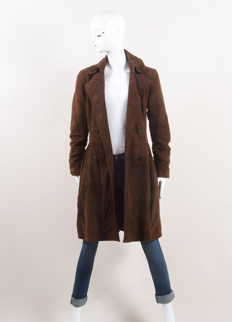 Ralph Lauren Collection Brown Suede Leather Long Sleeve Jacket Frontview