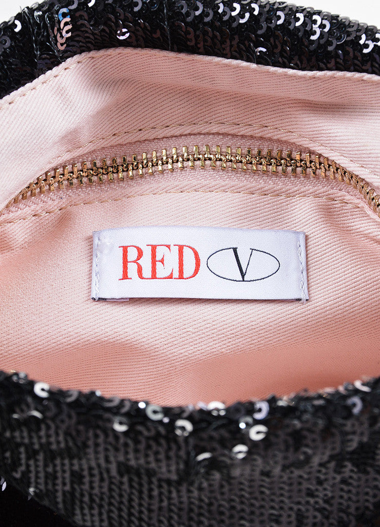 Red Valentino Black Sequin Bow Chain Shoulder Bag Brand