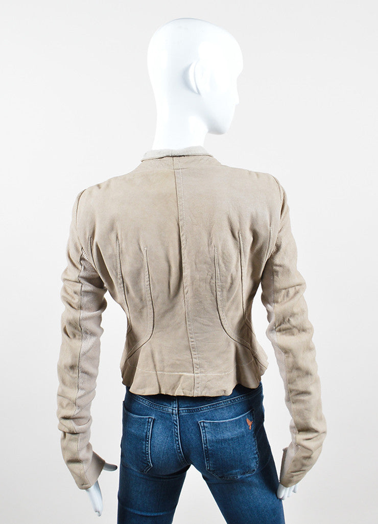 Rick Owens Beige Leather Ribbed Knit Asymmetrical Zip Jacket Backview