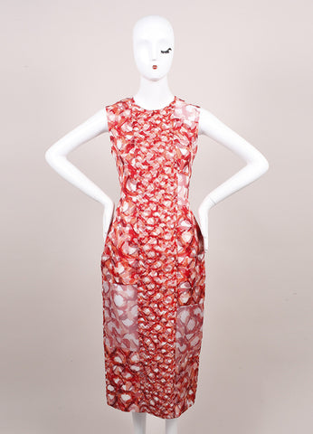 "Roksanda Ilincic New Orange and Red Geometric Silk ""Langston"" Dress Frontview"