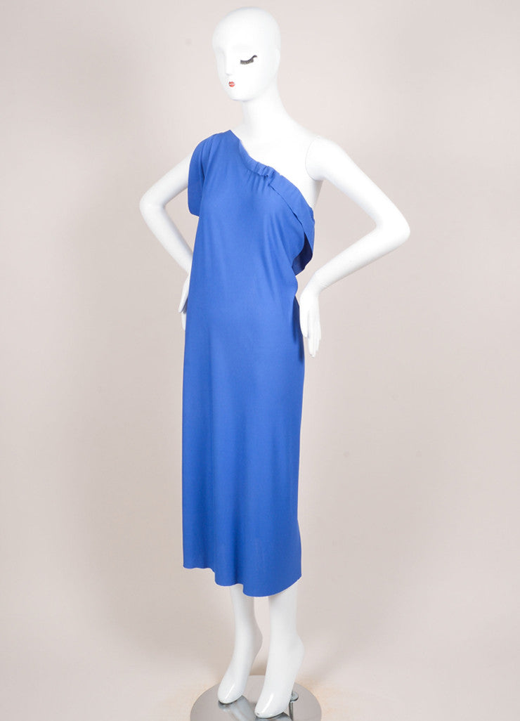 Roland Mouret Blue Periwinkle Jersey One Shoulder Dress Sideview