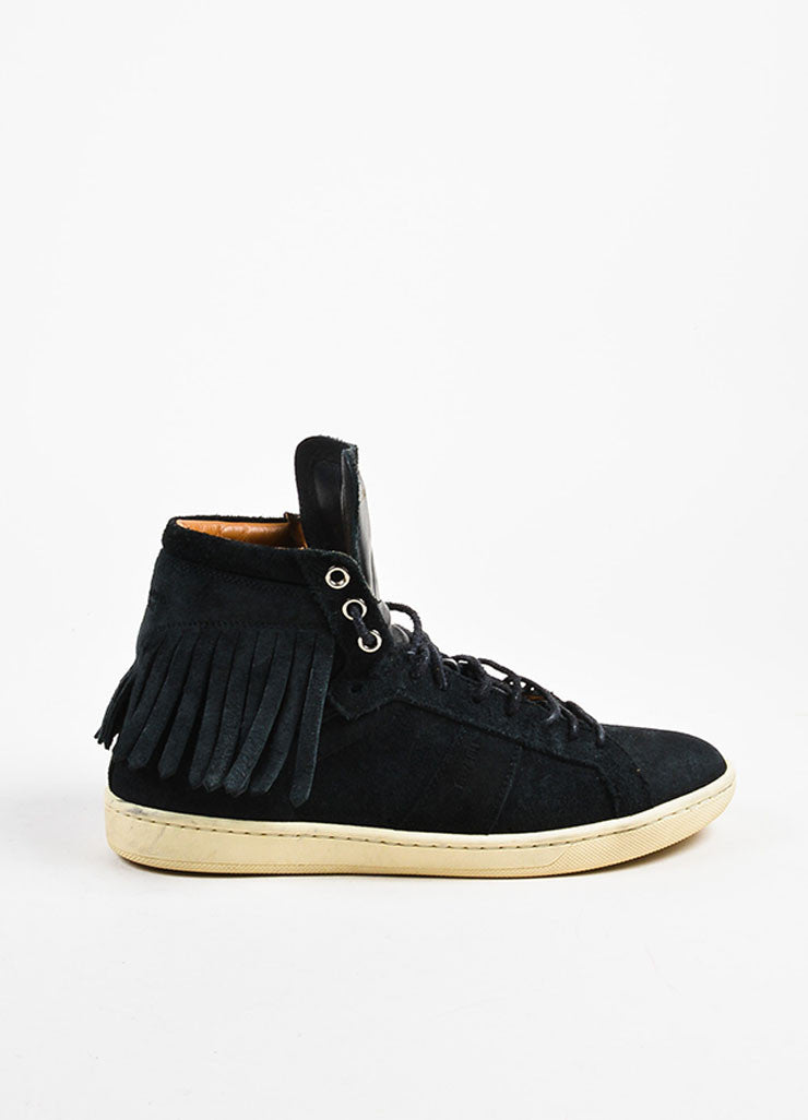Black Saint Laurent Suede Fringe Lace Up High Top Flat Sneakers Side