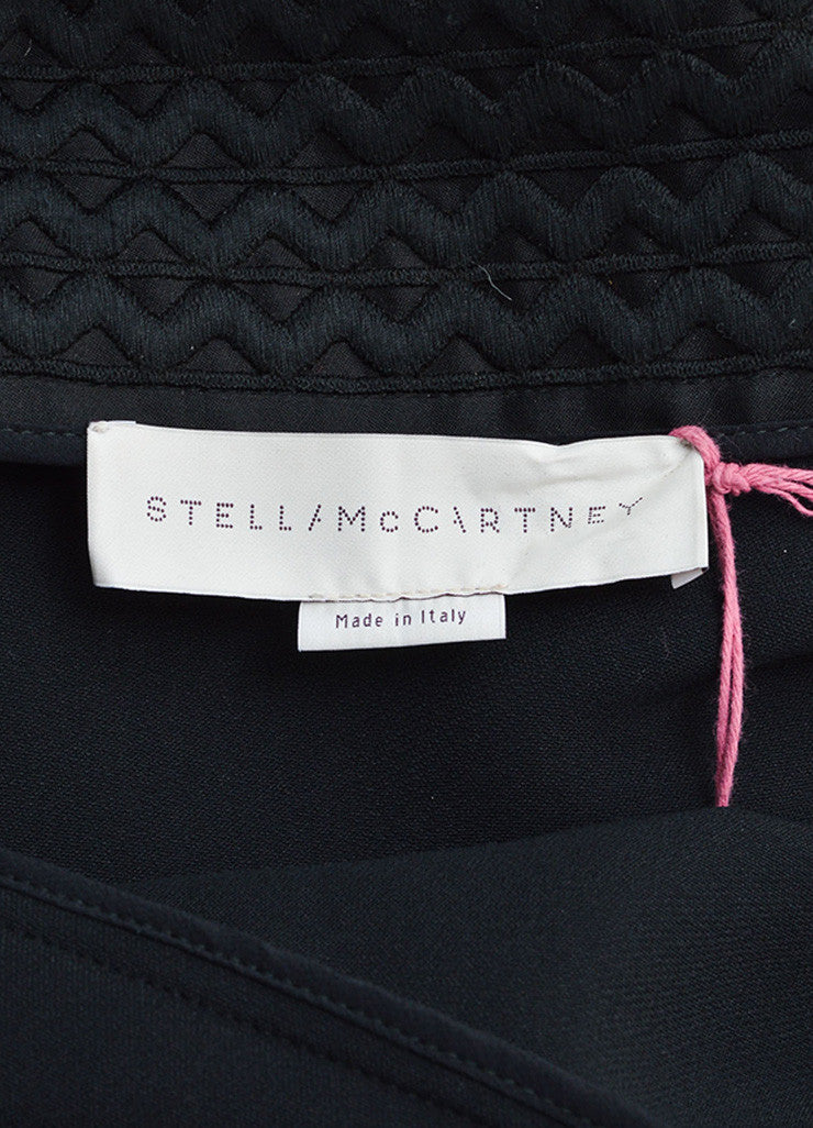 Stella McCartney Black Wave Embroidered Cut Out Pleated Dress Brand