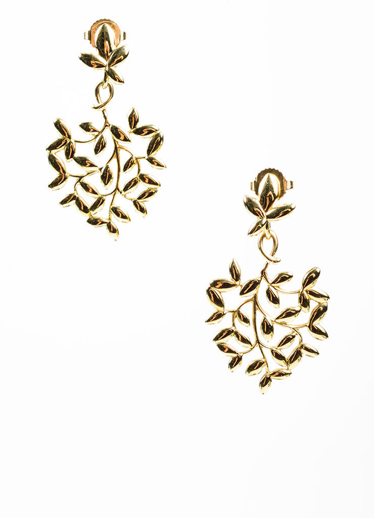18K Gold Tiffany & Co Paloma Picasso Olive Leaf Earring Front