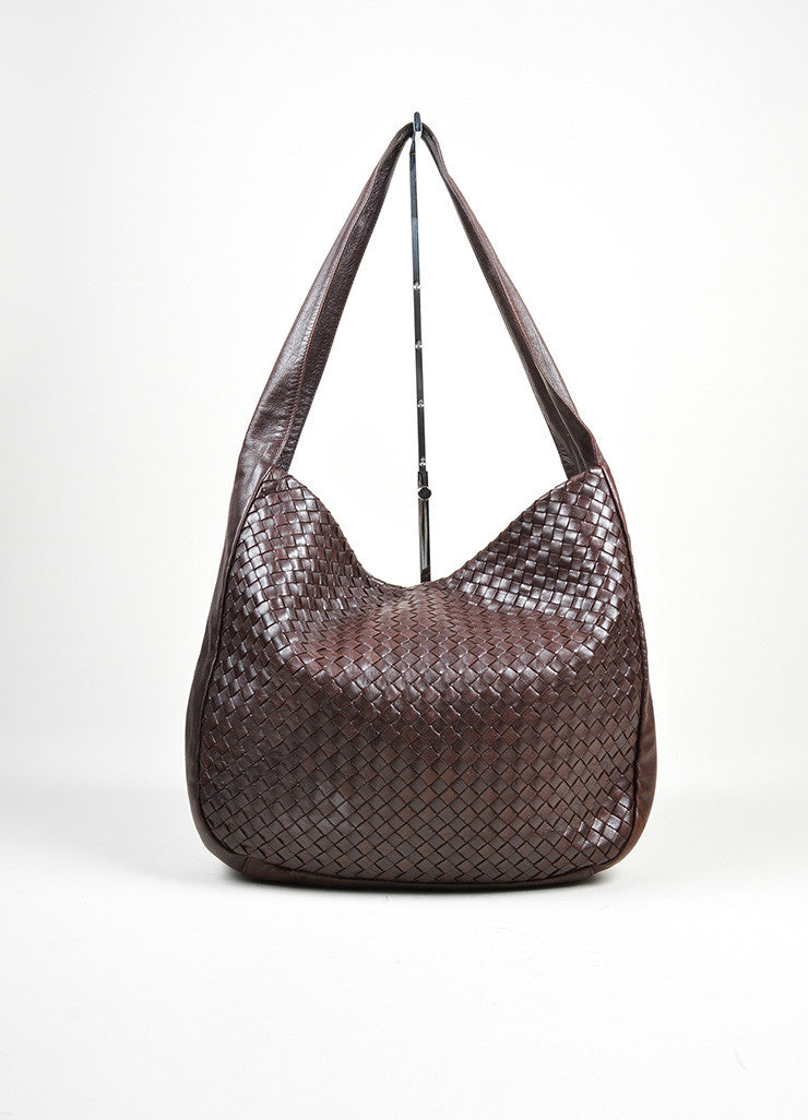 Brown Bottega Veneta Woven Intrecciato Leather Hobo Shoulder Bag Frontview