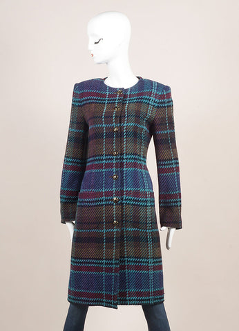 Emanuel Ungaro Blue, Black, and Multicolor Woven Plaid Long Sleeve Coat Frontview