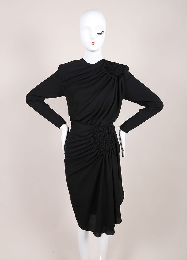 Galanos Black Draped Ruched Long Sleeve Dress Frontview