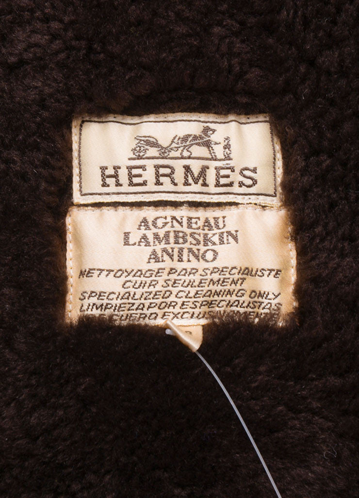 Hermes Brown Suede Shearling Long Zip Coat Brand