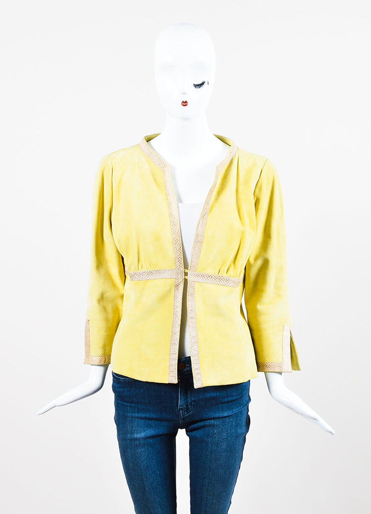 Valentino Chartreuse Yellow Suede and Ayers Snakeskin Trimmed Jacket Frontview 2