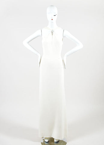 Cream Valentino Roma Silky Asymmetrical Shoulder Sleeveless Gown Dress Frontview