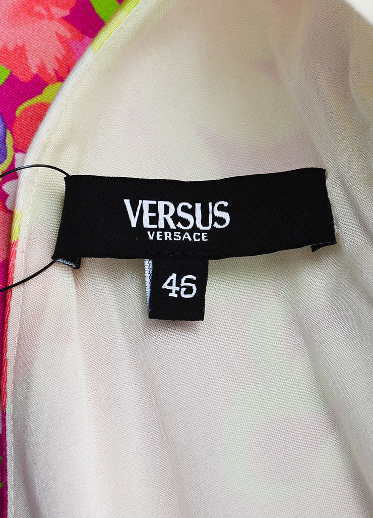 Versus Versace Pink, Purple, Off-White Cotton Floral Sleeveless Dress