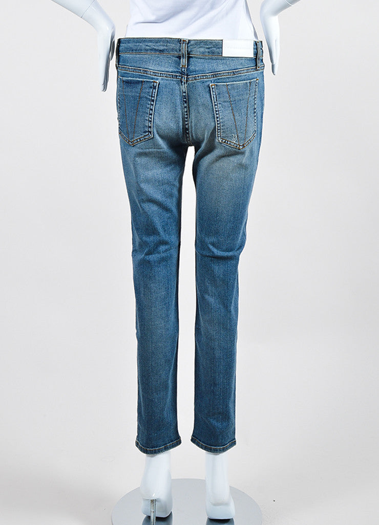 Victoria Beckham Jeans Blue Denim Distressed Skinny Ankle Jeans Outsoles