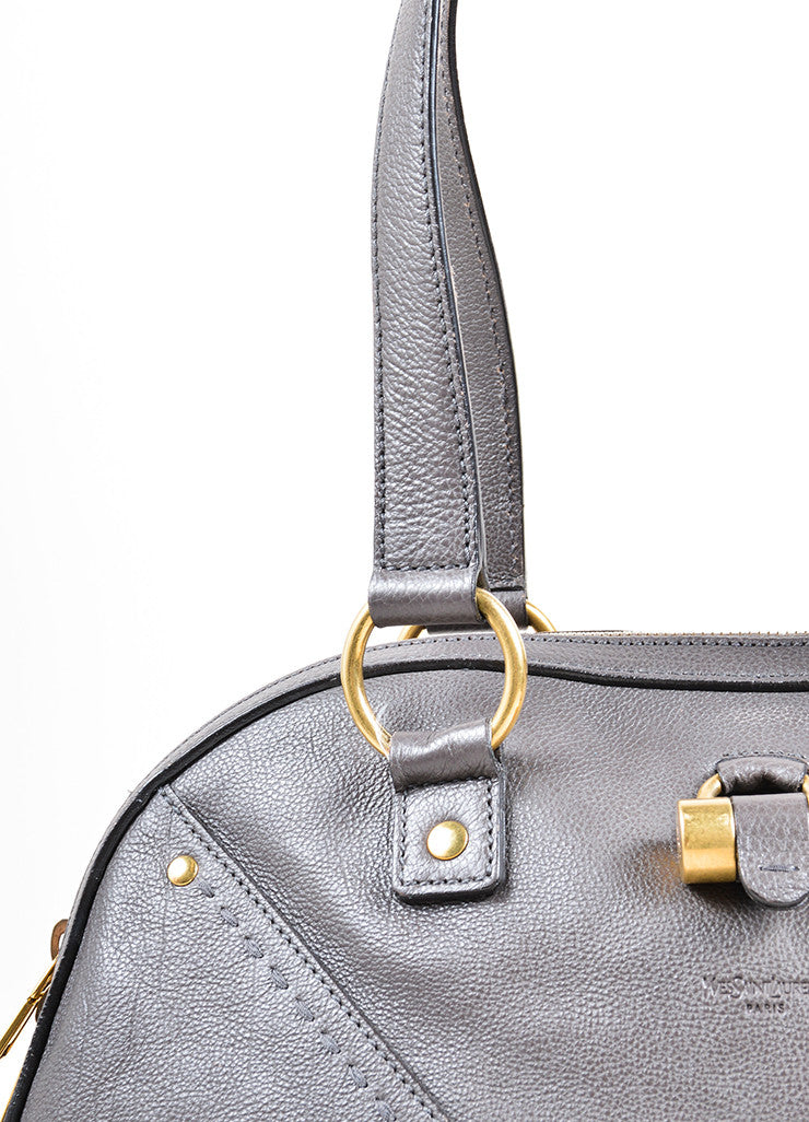 "Yves Saint Laurent Gray Pebbled Leather ""Muse"" Zip Dome Satchel Bag Detail 2"