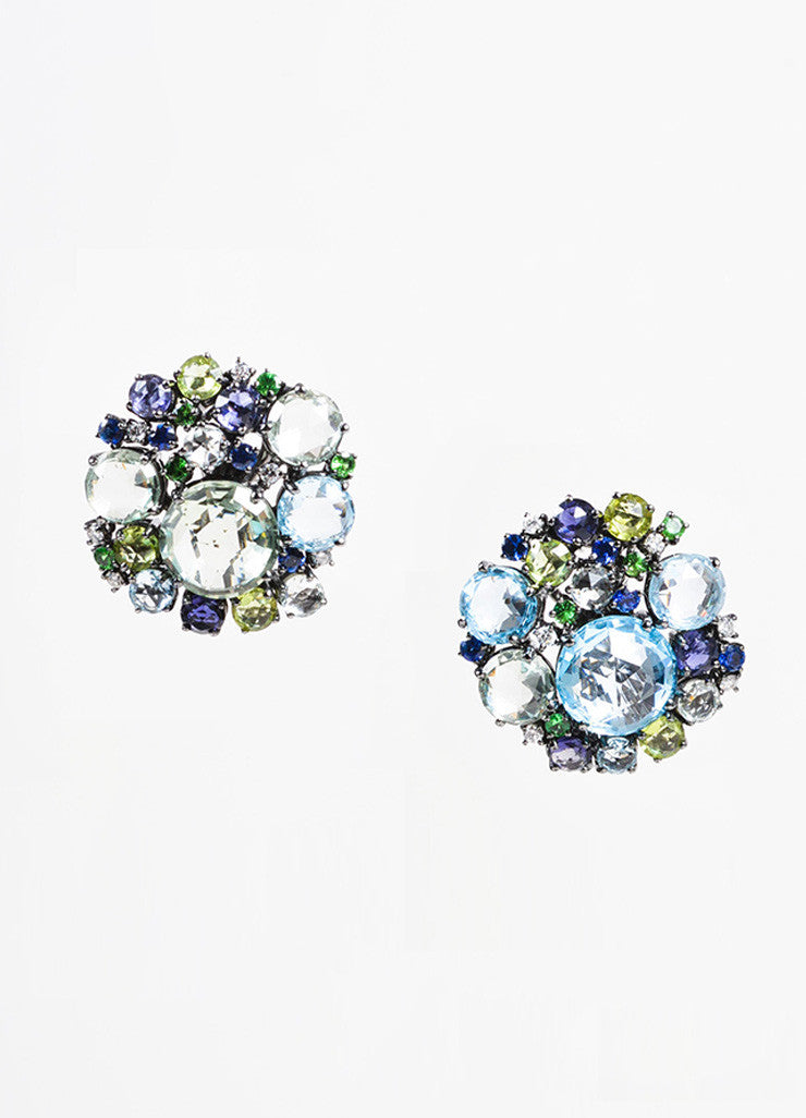 "A & Furst 18K Gold, Blue Topaz, Sapphire, and Diamond ""Bouquet"" Post Earrings Frontview"