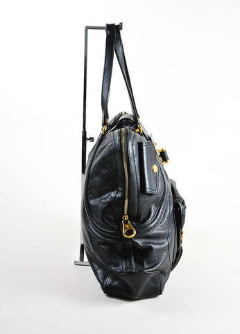 "Alexander McQueen Black and Gold Toned Leather Zip Up ""Flapper"" Tote Bag Sideview"