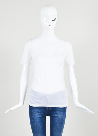Alexander Wang Cream Wool and Silk Knit Short Sleeve Pocket T-Shirt Frontview