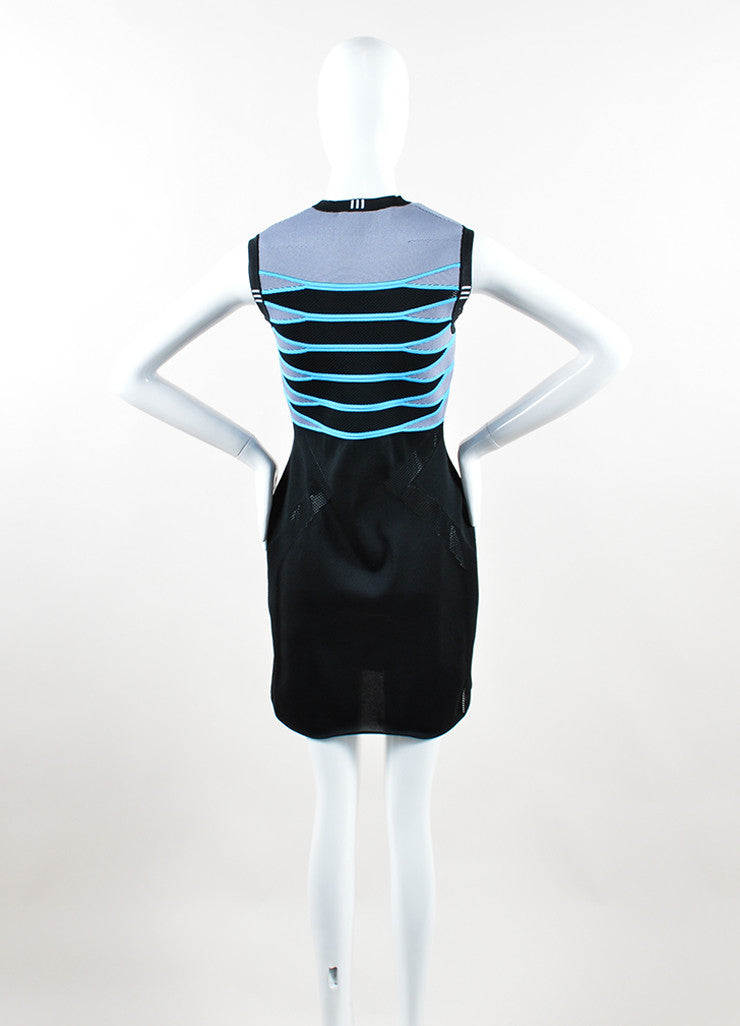 "Alexander Wang Black and Blue Mesh Fitted Short Sleeve ""Airforce"" Dress Backview"