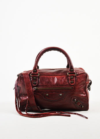 "Balenciaga Deep Red Leather ""Twiggy"" Satchel Bag With Shoulder Strap Frontview"