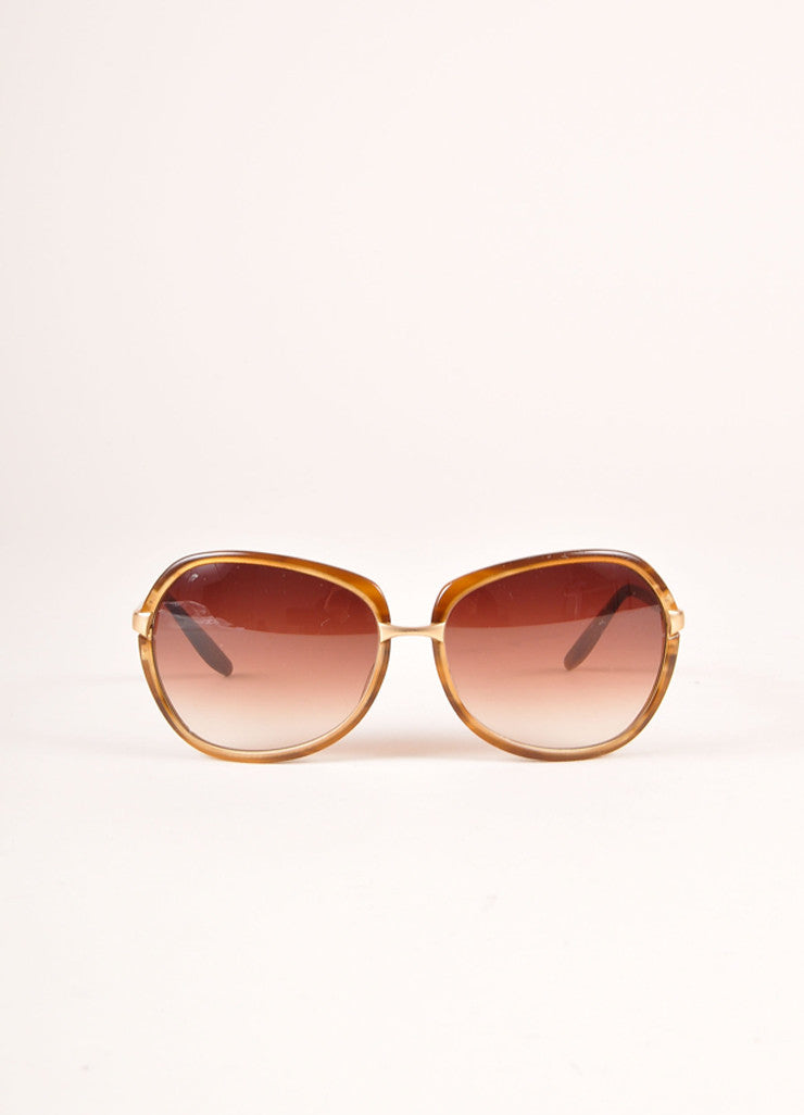 "Barton Perreira Brown and Gold Toned Oversized ""Centerfold"" Sunglasses Frontview"