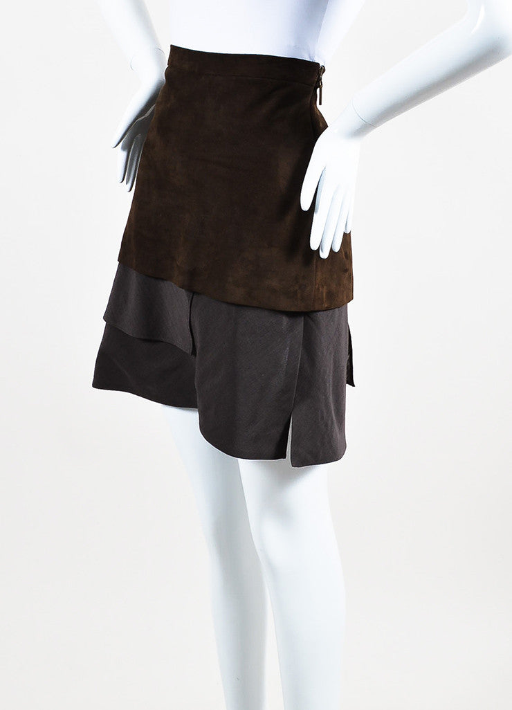 Brunello Cucinelli Brown Suede and Wool Blend Asymmetrically Tiered Skirt Sideview