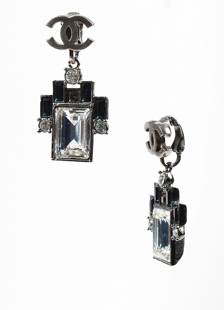 Silver Toned, Clear, and Blue Crystal Chanel 'CC' Clip On Geometric Drop Earrings Sideview
