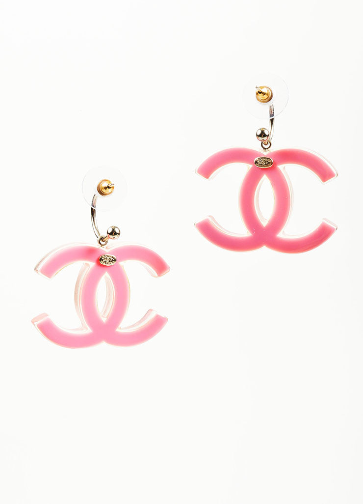 Pink Lucite and Enamel Chanel 'CC' Logo Drop Earrings Backview
