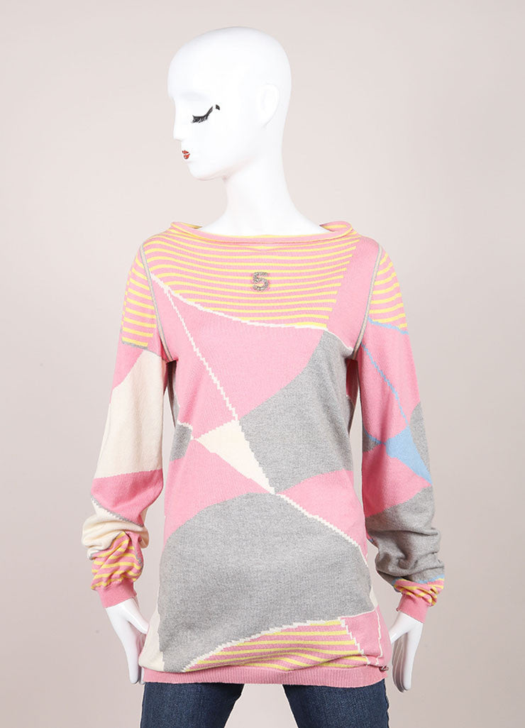 "Chanel Pink And Gray Multicolor Knit Cashmere Blend Printed ""5"" Sweater Frontview"