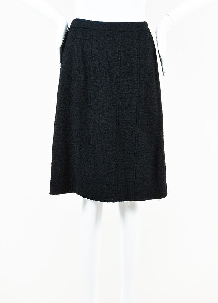 Chanel Black Wool Blend Tweed 'CC' Button Pencil Skirt Frontview