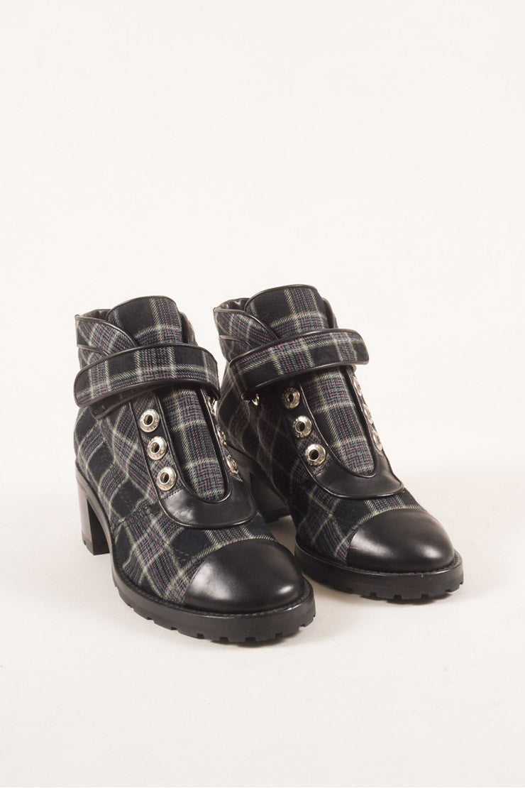 Chanel Black and Navy Leather and Wool Plaid Lug Ankle Boots Frontview