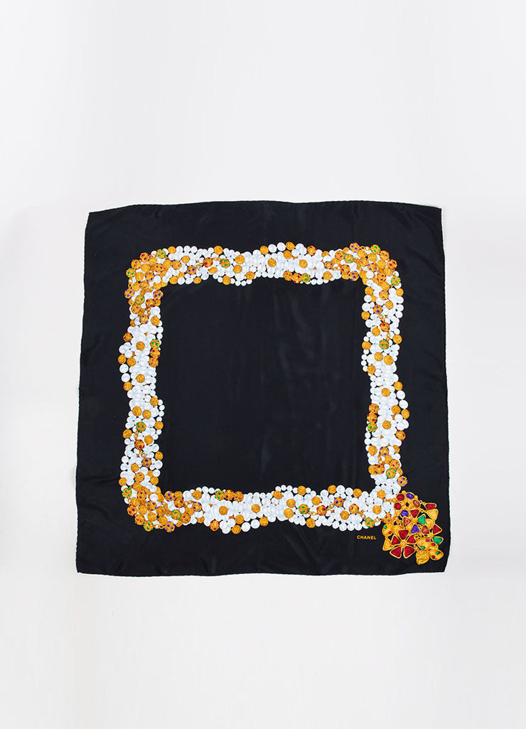 ¥éËChanel Black Silk Gripoix Pearl Jewelry Print Square Scarf Frontview 2