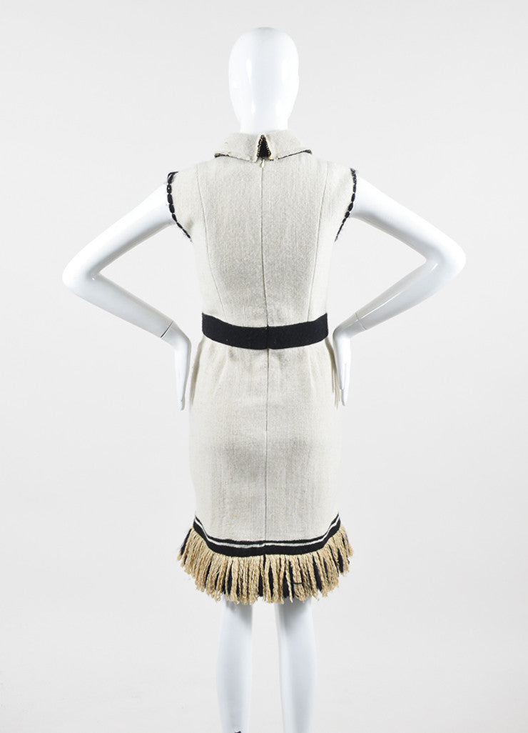 Cream and Black Chanel Cashmere and Silk Knit Fringe Hem Collared Sleeveless Dress Backview