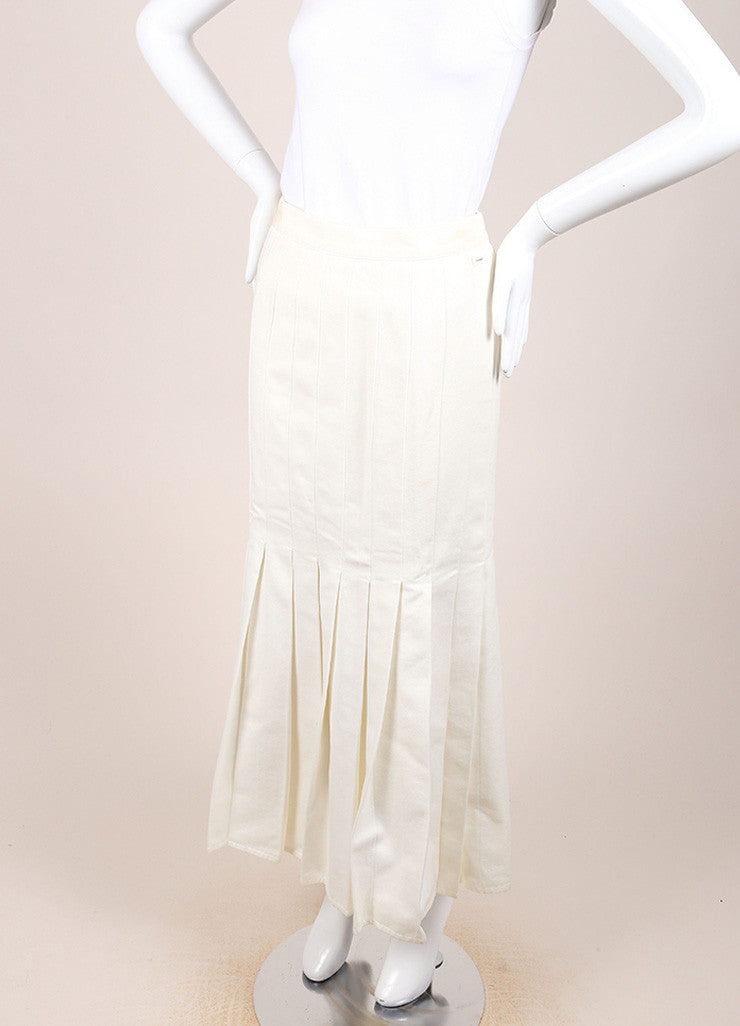 Chanel Cream Twill Pleated Drop Waist Maxi Skirt Sideview