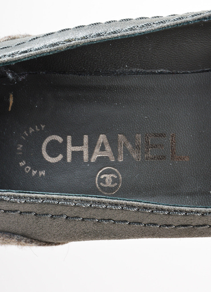 Grey Chanel Black Cap Toe Synthetic Wedge Heels