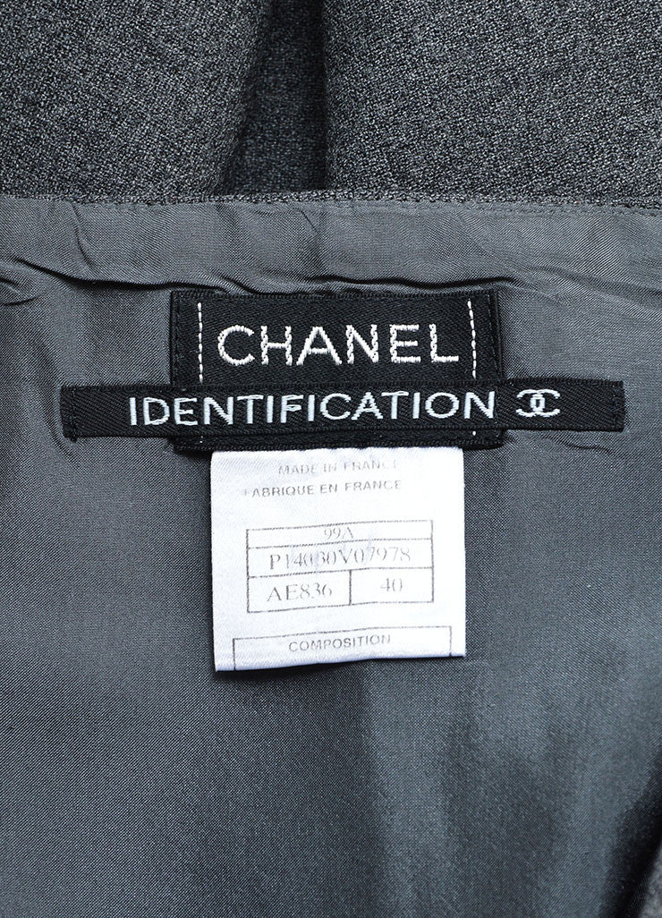 Chanel Grey Wool Knee Length Straight Wrap Skirt Brand