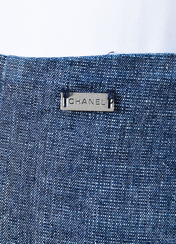 Chanel Blue Denim Knee Length Pencil Skirt Detail