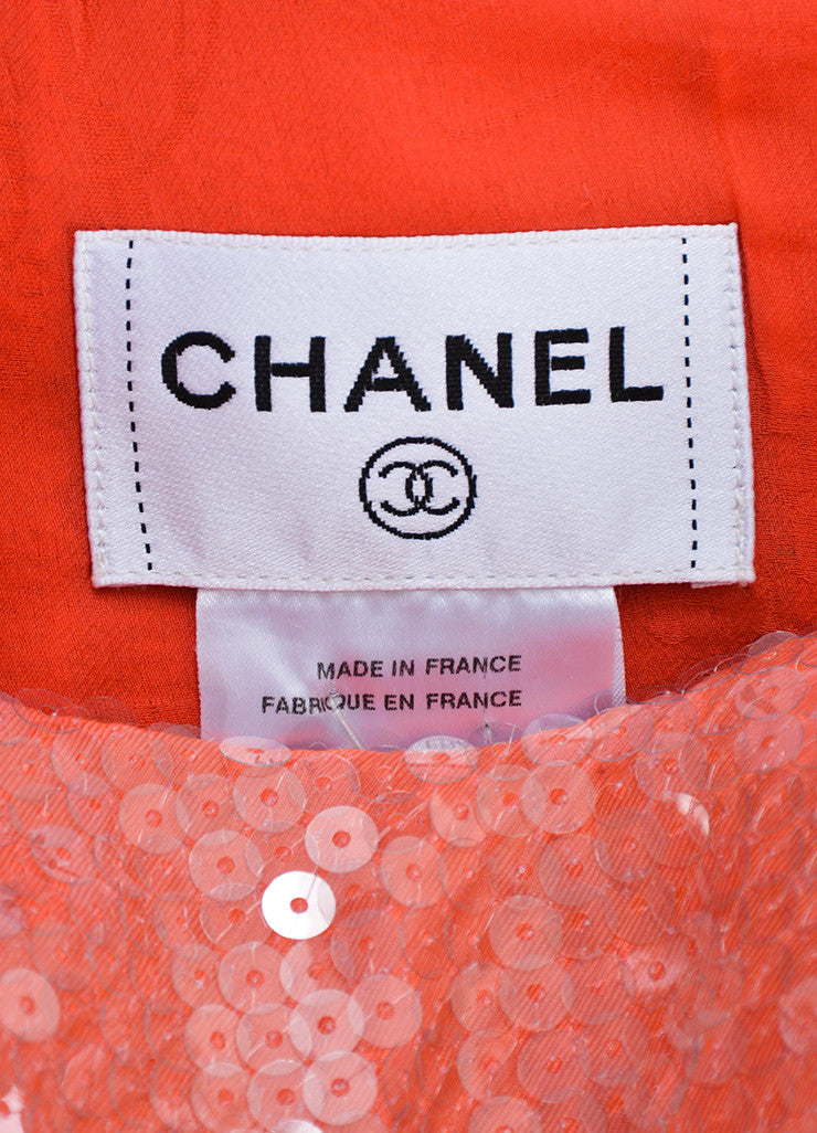 Coral and Pink Chanel Cotton Tweed Sequin Trim Sleeveless Shift Dress Brand